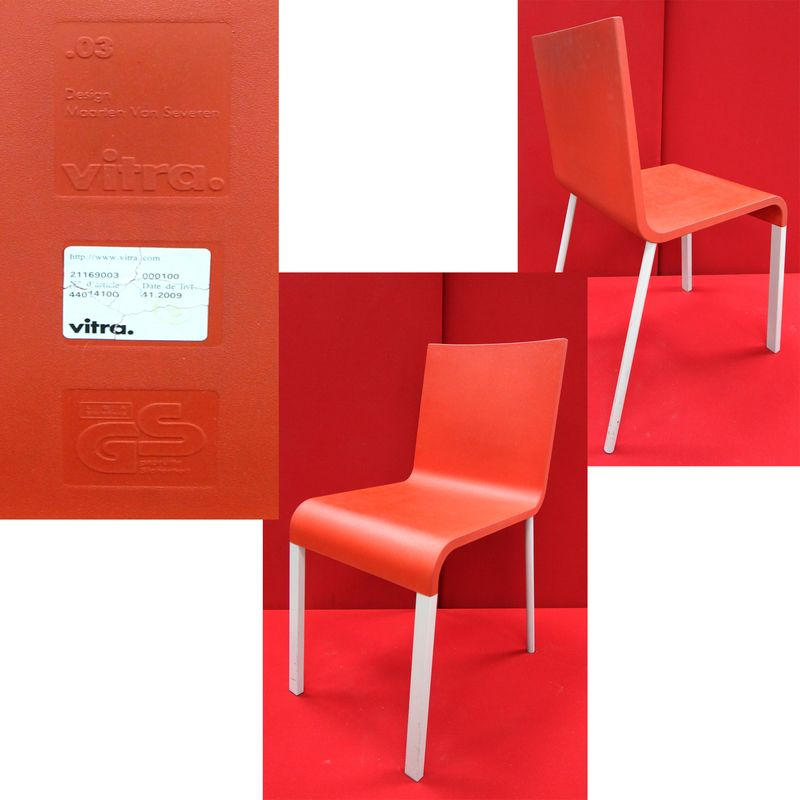 LOT 3. 10 UNITES. CHAISES MODELE .03. DESIGN MARTEEN VAN SEVEREN.EDITION VITRA. COLORI ROUGE SUR PIETEMENT METAL LAQUE GRIS. NON EMPILABLES. 79 x 38 x 52 CM.