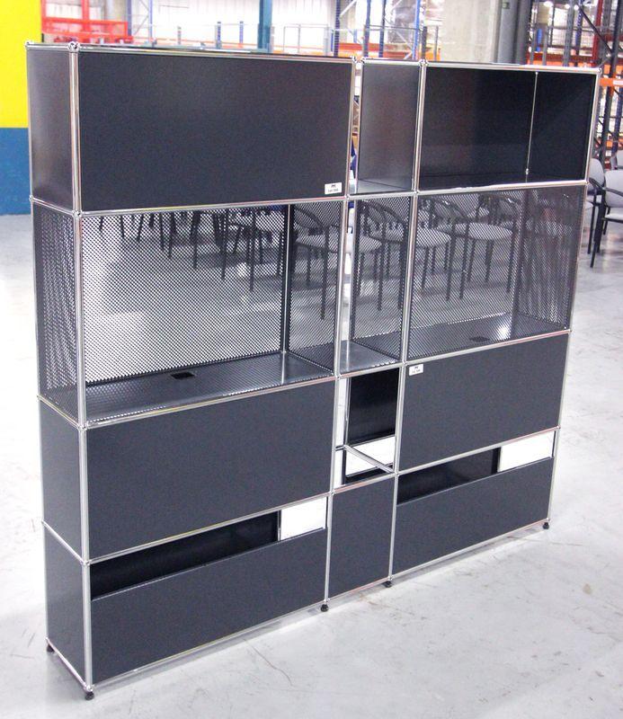 Usm Haller Bibliotheque Ou Cloison De Separation Module Avec Structure En Metal Chrome Et Panneaux