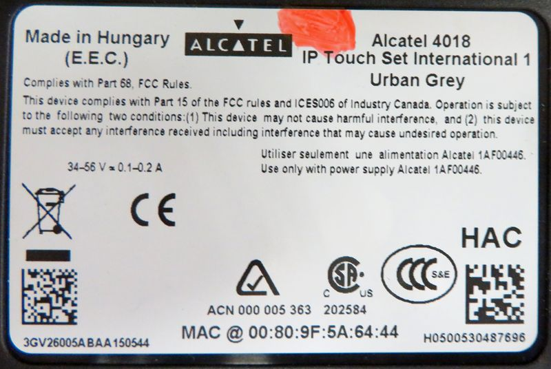 TELEPHONE IP DE MARQUE ALCATEL MODELE IP TOUCH SET INTERNATIONAL 1 URBAN GREY REFERENCE 4018. VENDU SANS CABLE D'ALIMENTATION NI CABLE ETHERNET.