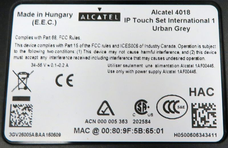 TELEPHONE IP DE MARQUE ALCATEL MODELE IP TOUCH SET INTERNATIONAL 1 URBAN GREY REFERENCE 4018. VENDU SANS COMBINE, SANS CABLE D'ALIMENTATION NI CABLE ETHERNET.