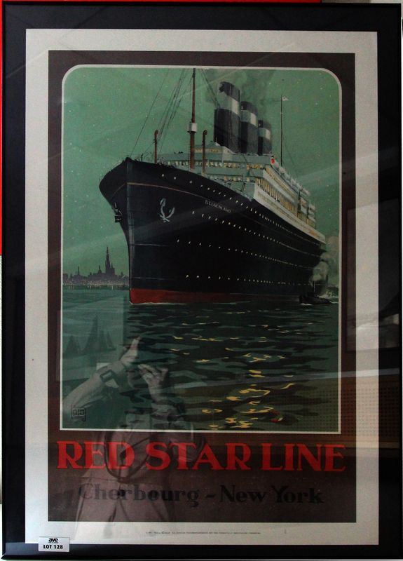 REPRODUCTION DE L'AFFICHE DE LA RED STAR LINE POUR LA LIGNE CHERBOURG NEW-YORK AUX EDITIONS CLOUET. DIMENSIONS : 90 x 61 CM.