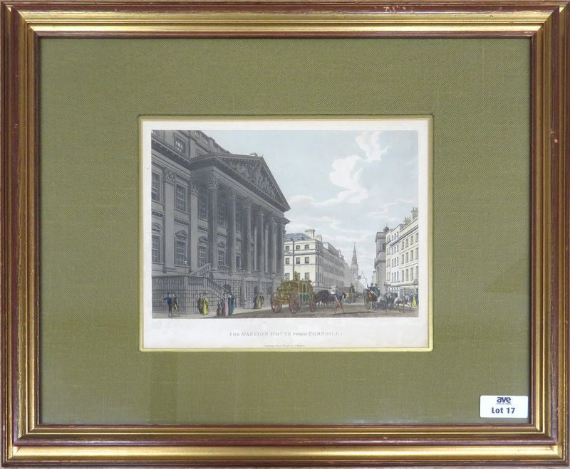 "GRAVURE EN COULEUR REPRESENTANT UNE VUE DE LONDRES TITREE ""THE MANSION HOUSE FROM CORNHILL"" PUBLISHED DEC 16 1798 BY T. MALCOM. 32,5 X 26 CM (A VUE). ENCADREE SOUS VERRE."