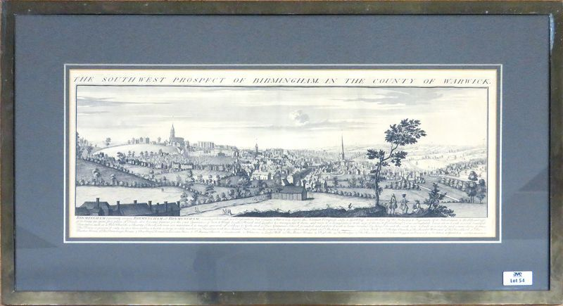 "GRAVURE ANGLAISE TITREE ""THE SOUTH WEST PROSPECT OF BIRMINGHAM IN THE COUNTY OF WARWICK"". 32 X 83 CM (A VUE). CADRE EN LAITON (OXYDATION)"
